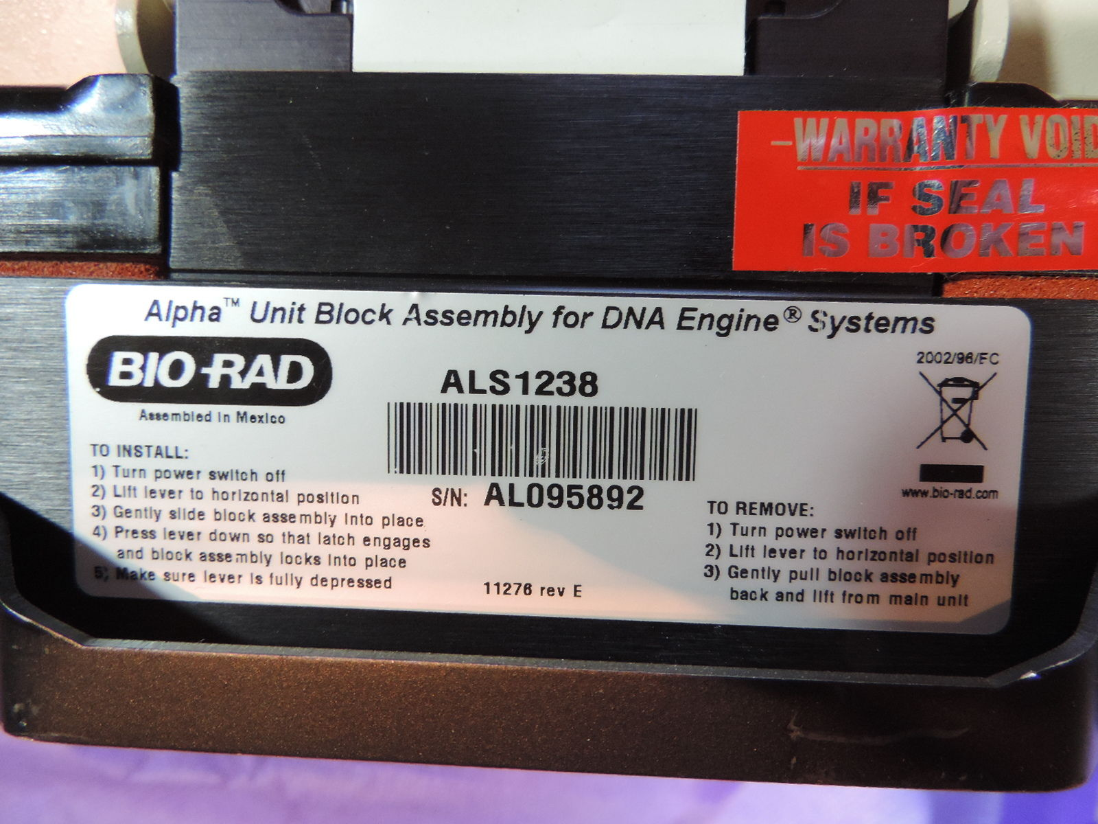 BioRad Alpha Unit Block for DNA Engine Systems