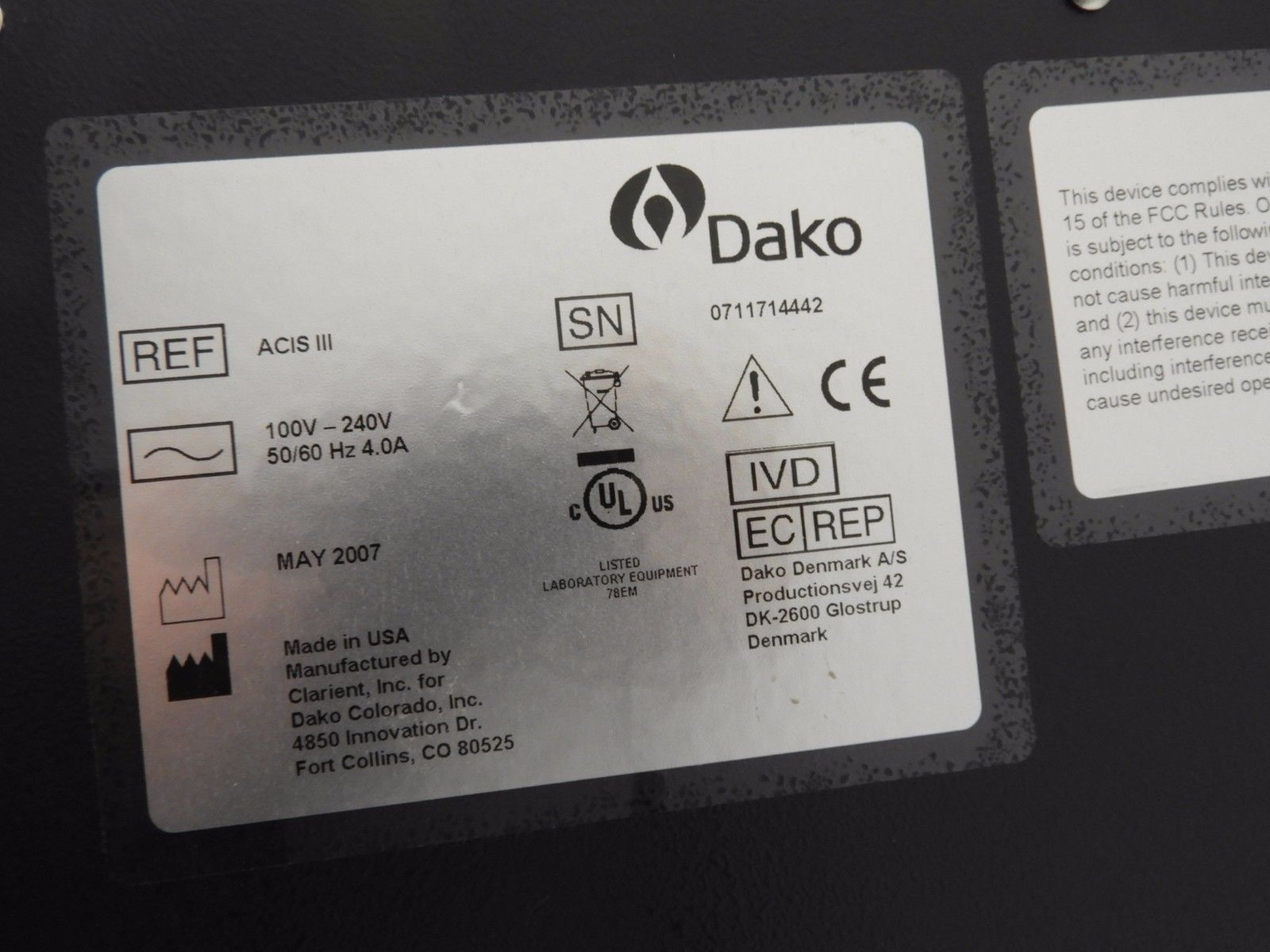 Dako ChromaVision ACIS-III Automated Cellular Imaging System label